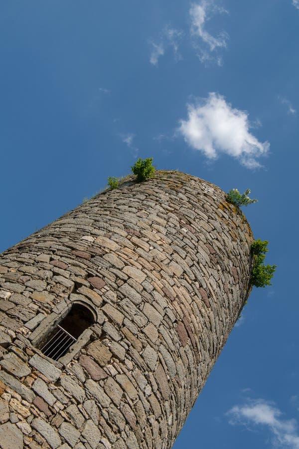 Ansicht von der deutschen Ruine Kugelsburg lizenzfreie stockfotografie