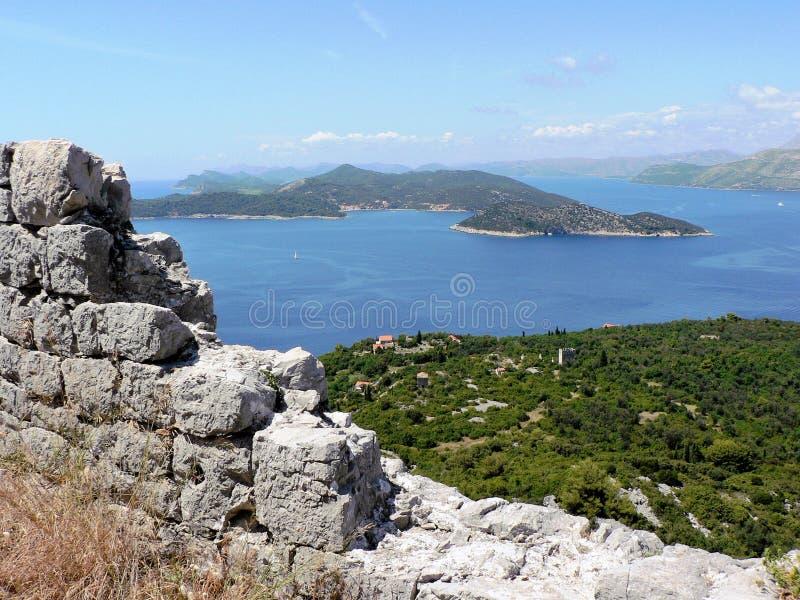 Ansicht von der Lopud Insel stockfoto