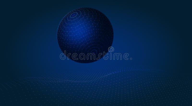 Ansicht von der Oberfläche des Mondes zur Erde Abstraktion Stilisierter futuristischer Rahmen-Entwurf Abbildung stock abbildung