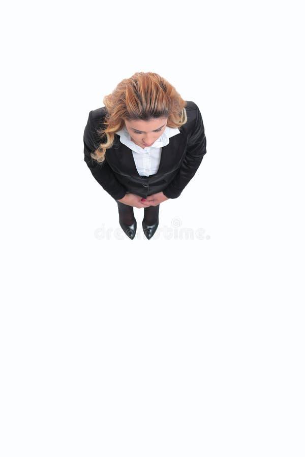 Ansicht von der Oberseite Moderne Geschäftsfrau Getrennt stockbild