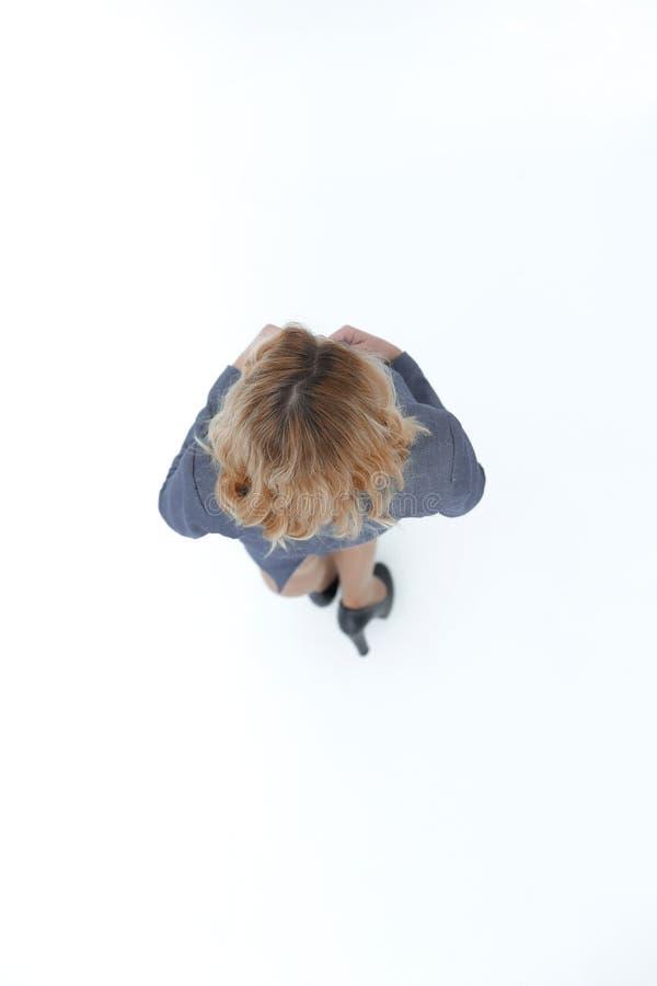 Ansicht von der Oberseite Moderne Geschäftsfrau Lokalisiert auf Weiß stockfotografie