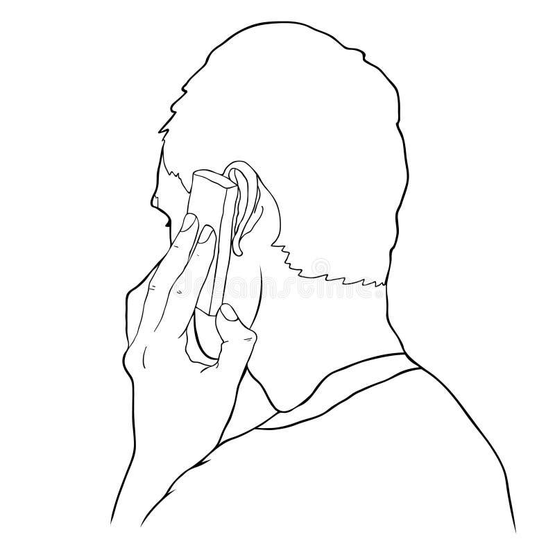 Ansicht von der Rückseite eines Mannes schellt durch Handy Vector Kranken lizenzfreie abbildung