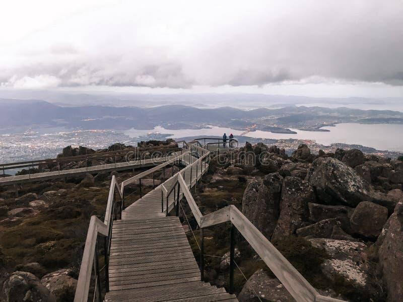 Ansicht von der Spitze von Ausblick mt Wellington Tasmanien stockfoto