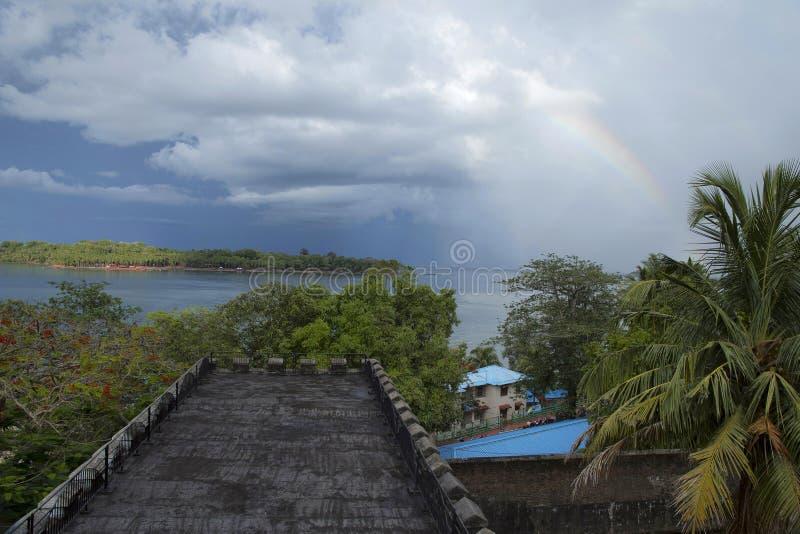 Ansicht von der Spitze des zellulären Gefängnisses, Port Blair, Andaman-Inseln stockfoto