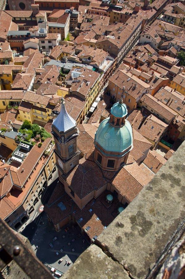 Ansicht von der Spitze von Asinelli-Turm lizenzfreie stockfotografie