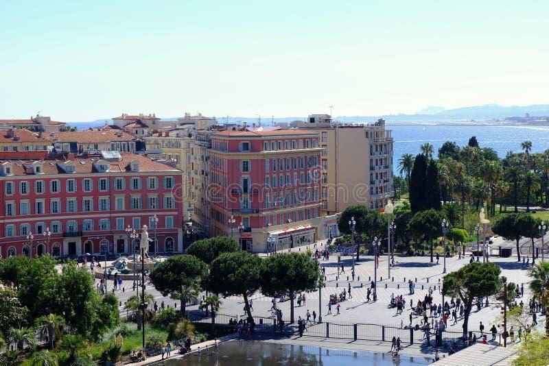 Ansicht von der Spitze zur Mitte von Nizza, Frankreich stockbilder