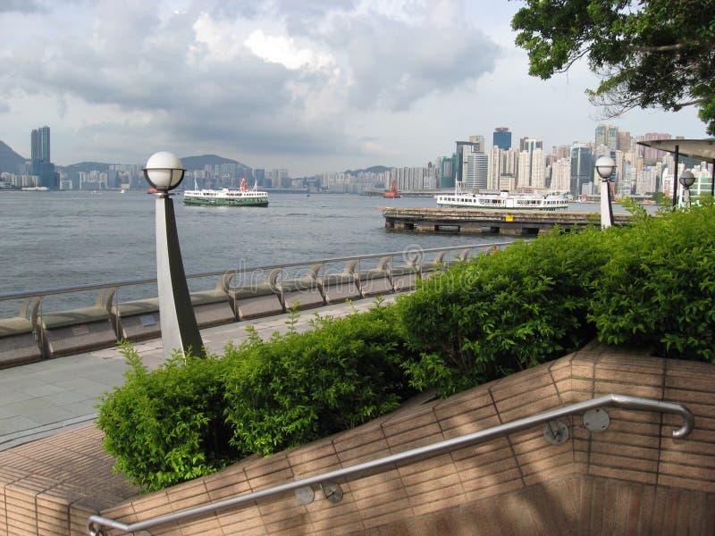 Ansicht von der zentralen Promenade, Hauptinsel, Hong Kong stockbild