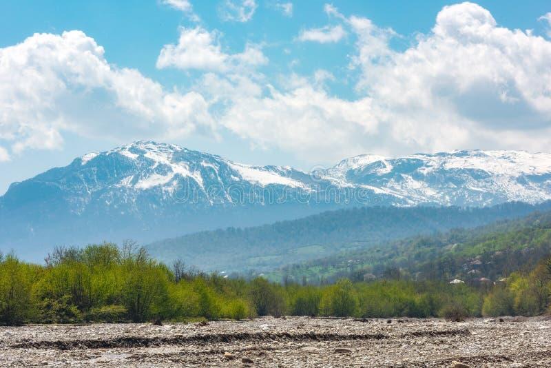 Ansicht von einem Gebirgsfluss, von Wald und von schneebedeckten Bergen lizenzfreies stockbild