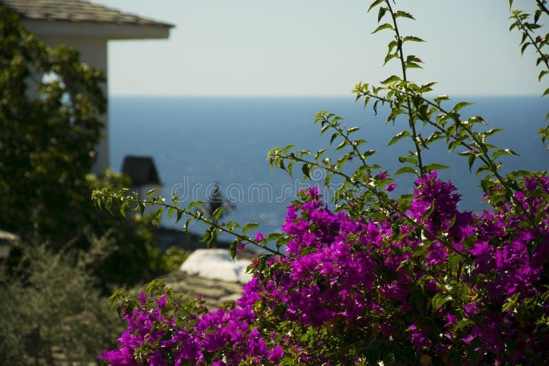 Ansicht von einem Kloster in einer griechischen Insel, Thasos stockbilder