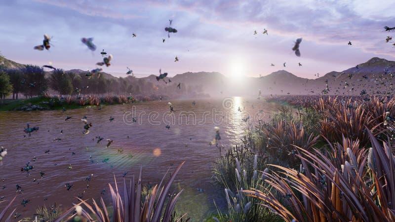 Ansicht von einem sch?nen Teich in der Landschaft Schöne Natur, endlose Felder mit Insekten und Vögel Wiedergabe 3d stock abbildung