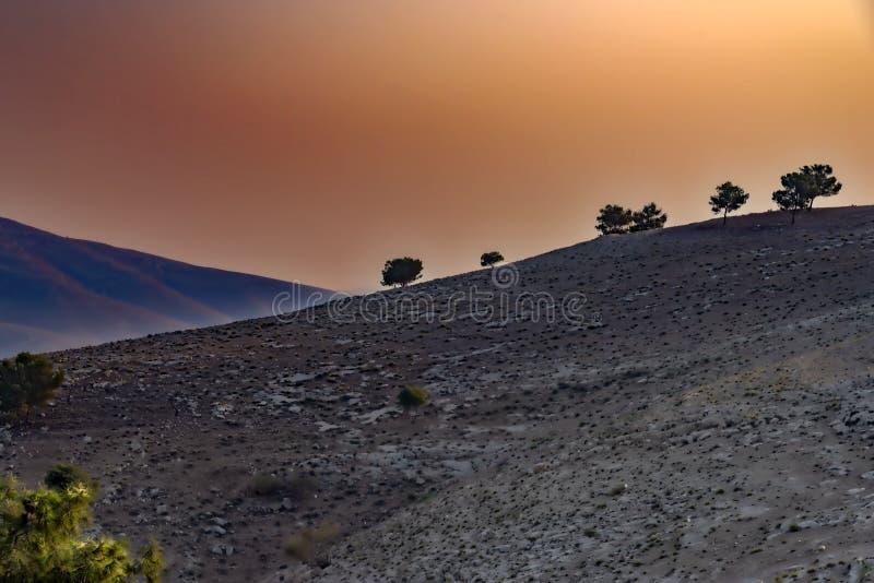 Ansicht von einer rollenden Berglandschaft mit Bäumen und von Nebel bei Sonnenuntergang, nannte Berg Nebo in Jordanien, wohin die stockfoto