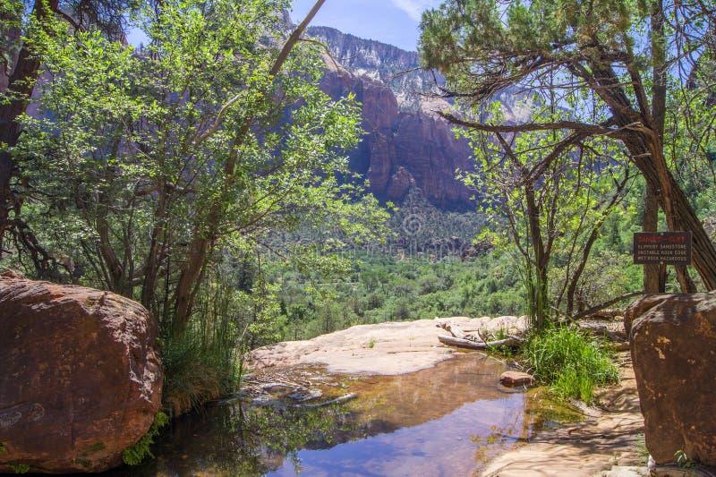 Ansicht von Emerald Pool Trail, Zion NP stockfoto