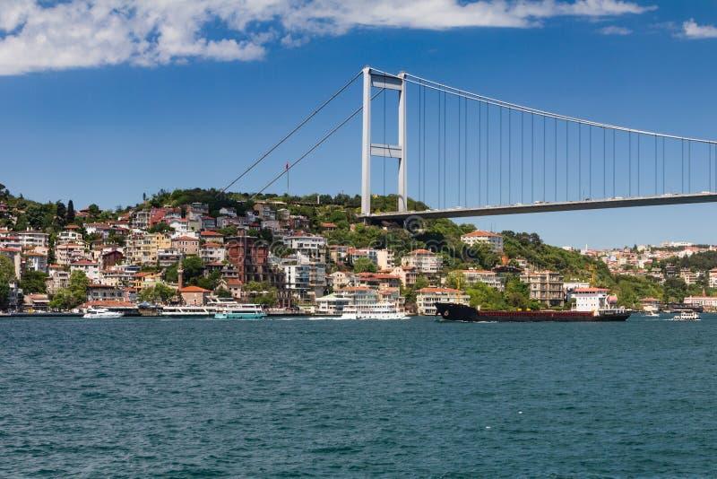Ansicht von Fatih Sultan Mehmet Bridge, der auf Bosphorus-Straße localed Istanbul Die Türkei lizenzfreies stockfoto
