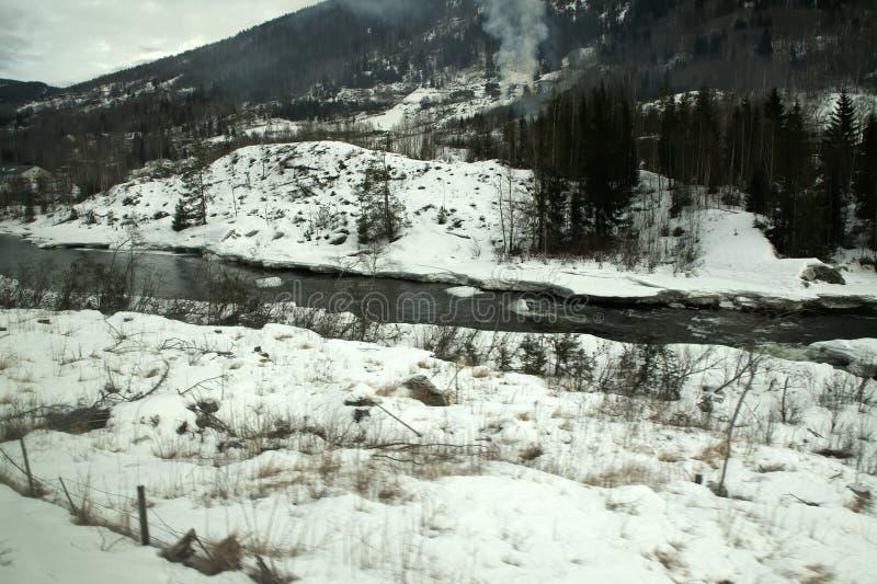 Ansicht von Fluss im Winter zwischen Oslo und Bergen stockfotos