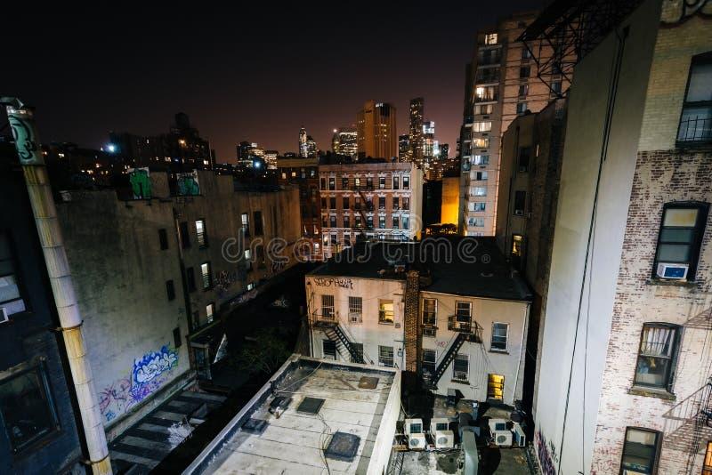 Ansicht von Gebäuden in der unteren Ostseite vom Manhattan Brid lizenzfreies stockbild
