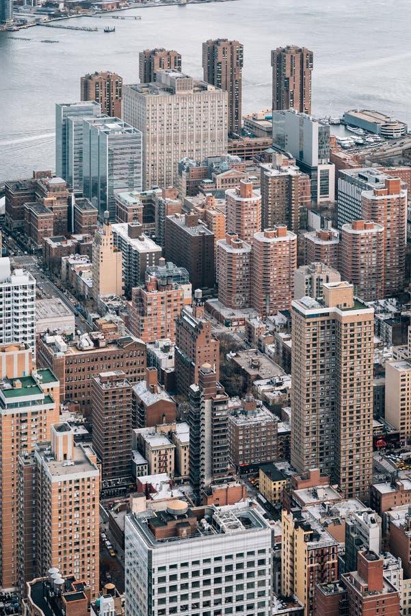 Ansicht von Gebäuden in Midtown Manhattan, in New York City stockbilder