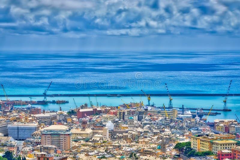 Ansicht von Genua von oben lizenzfreie stockfotografie