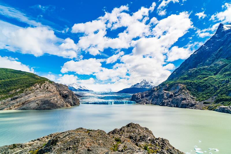 Ansicht von Grey Glacier und von Gley See im Nationalpark Torres Del Paine lizenzfreie stockfotos