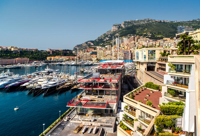 Ansicht von Hafen Monacos Hercule lizenzfreie stockfotografie