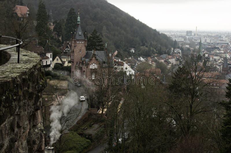 Ansicht von Heidelberg vom Schloss, Deutschland lizenzfreies stockbild
