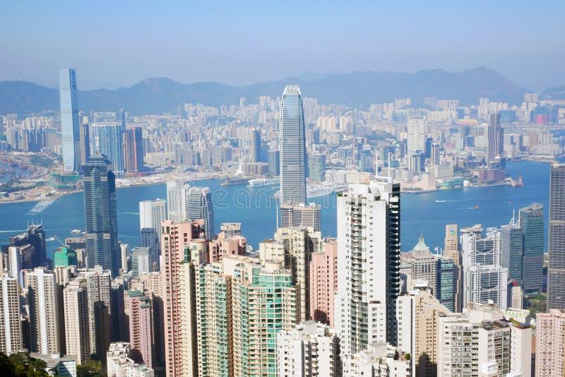 Ansicht von Hong Kong von der Victoria-Spitze stockbild