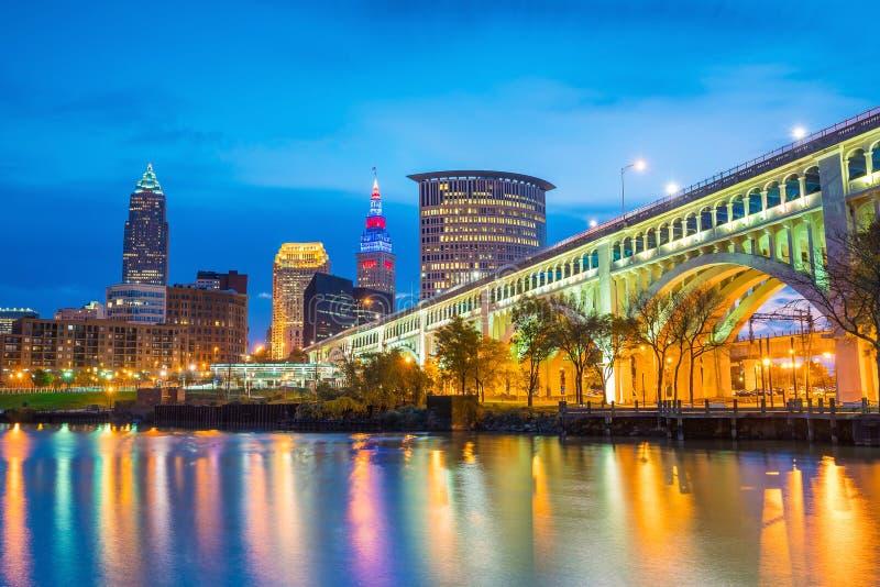 Ansicht von im Stadtzentrum gelegenem Cleveland lizenzfreies stockbild