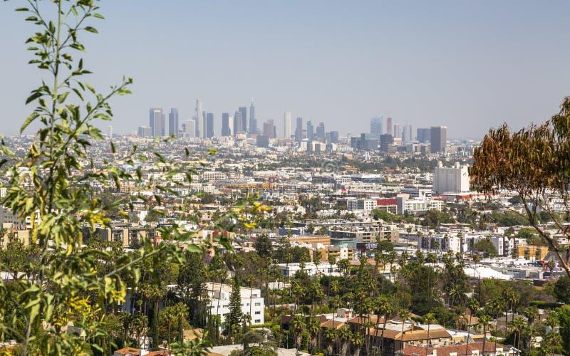 Ansicht von im Stadtzentrum gelegenen Skylinen von Hollywood Hills, Los Angeles, Kalifornien stockfoto
