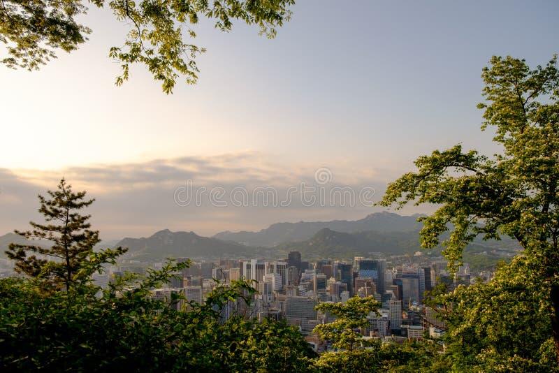 Ansicht von im Stadtzentrum gelegenen Skylinen von Seoul von Namsan-Berg lizenzfreie stockfotos