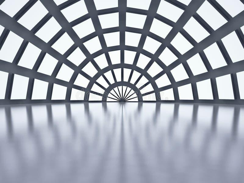 Ansicht von innen der Haube mit Mehrfachverbindungsstellenfenstern stock abbildung