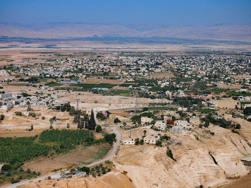 Ansicht von Jericho From The Monastery der Versuchung, Westjordanland lizenzfreie stockfotos
