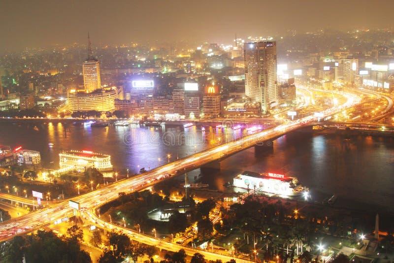Ansicht von Kairo-Nacht lizenzfreie stockfotos