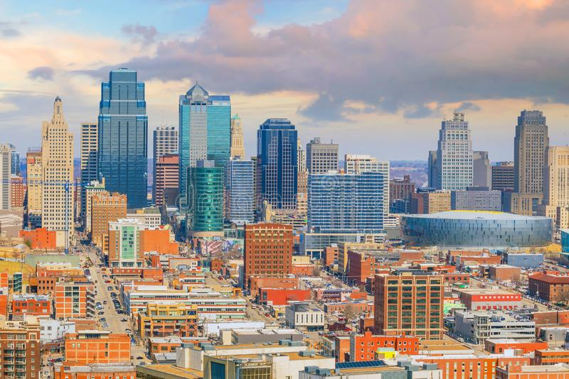 Ansicht von Kansas City-Skylinen in Missouri stockfotos
