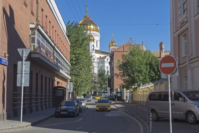 Ansicht von Kursovoy-Weg in Richtung zum Christus die Retter-Kathedrale, lizenzfreies stockbild