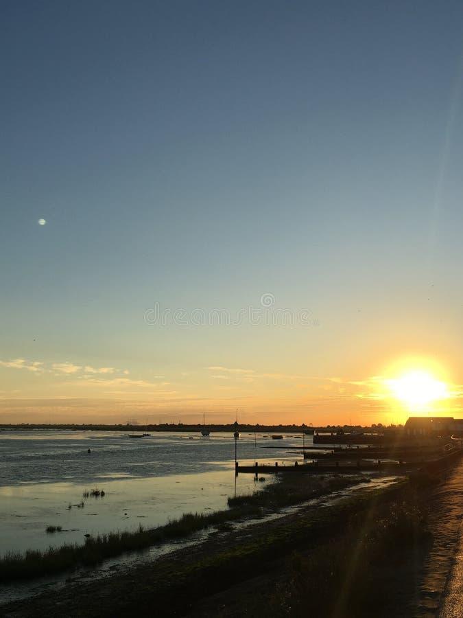 Ansicht von Leigh auf Meer bei Sonnenuntergang lizenzfreies stockbild