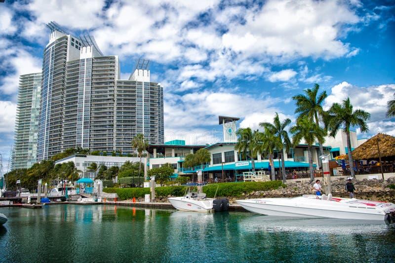 Ansicht von luxuriösen Booten und von Yacht koppelte in einem Miami-Südstrand-Jachthafen an Reichweitenlebenkonzept Grundbesitz?  stockfotografie