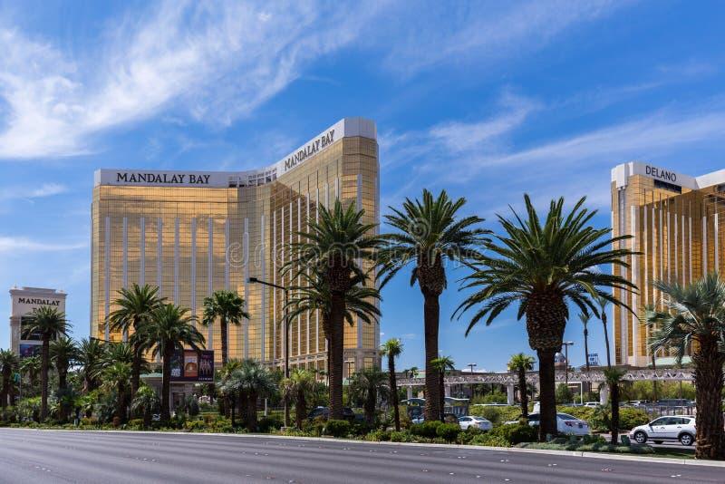 Ansicht von Mandalay Bucht- und Delano-Hotels und von Kasinos, Las Vegas, USA lizenzfreies stockbild