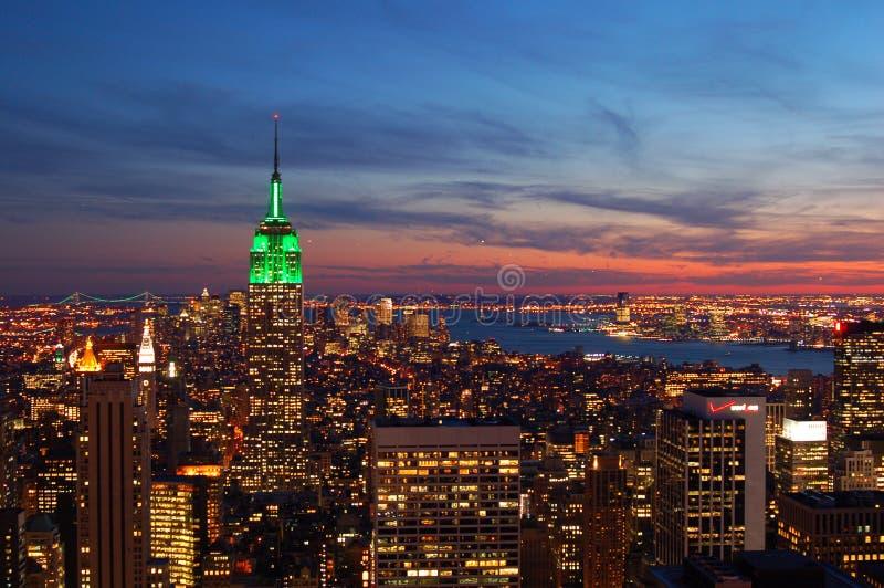 Ansicht von Manhattan bei Sonnenuntergang lizenzfreie stockfotografie
