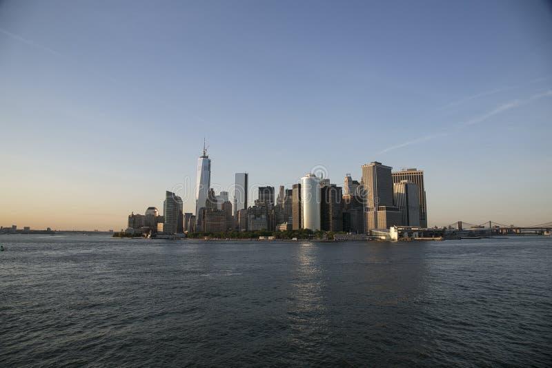 Ansicht von Manhatten von Staten Island Ferry lizenzfreie stockbilder