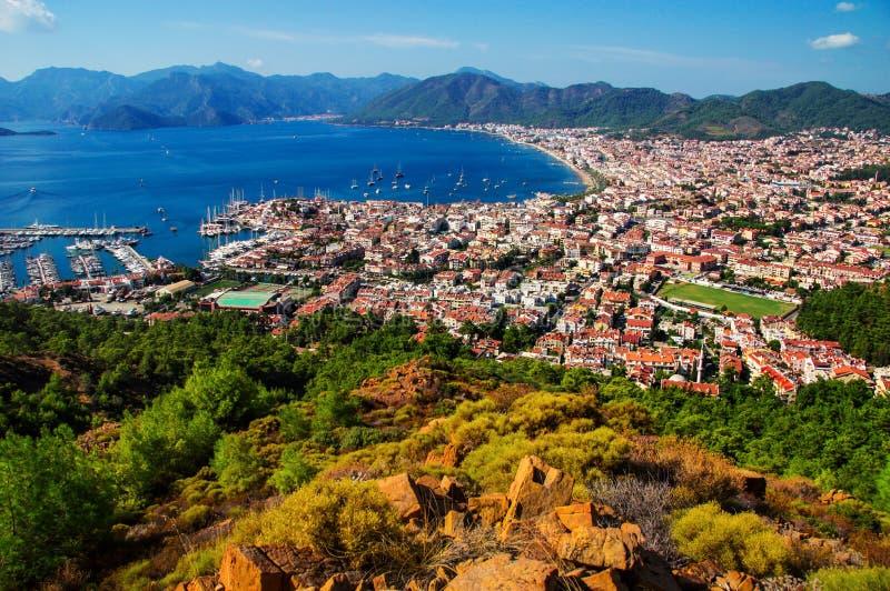 Ansicht von Marmaris-Hafen auf dem Türkischen Riviera lizenzfreies stockfoto