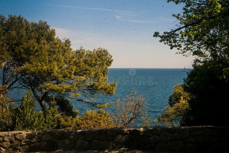 Ansicht von Meer vom Vorontsov-Palast-Park in Krim stockfotografie