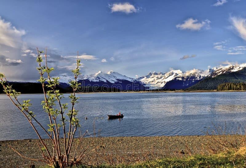 Ansicht von Mendenhall-Gletscher, Alaska, über Gastineau-Kanal lizenzfreies stockbild