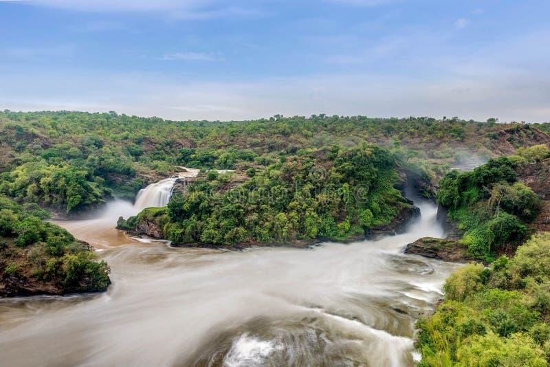 Ansicht von Murchison Falls auf dem Victoria Nile-Fluss Nationalpark lizenzfreie stockbilder