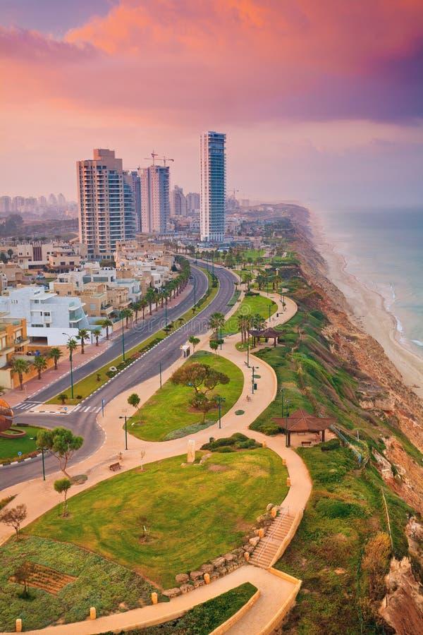 Ansicht von Netanja-Stadt, Israel lizenzfreies stockbild