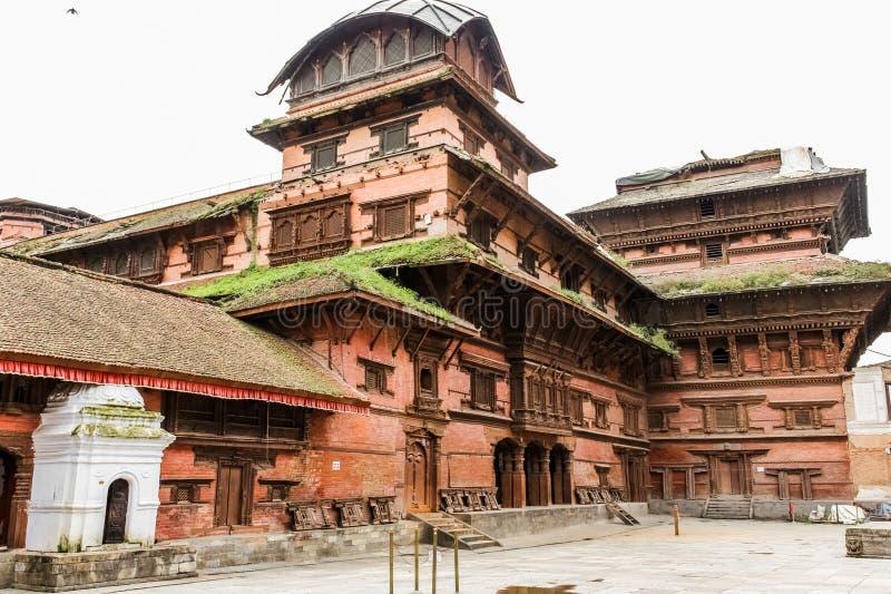 Ansicht von neun Geschoß Basantapur-Turm in nasalem Chowk-Hof, Kathamandu, Nepal lizenzfreie stockfotografie