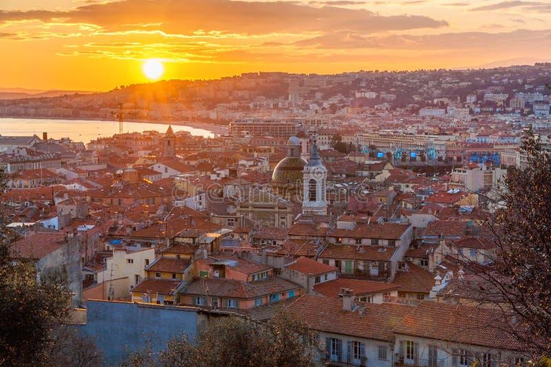 Ansicht von Nizza - von Cote d'Azur - von Frankreich lizenzfreie stockfotografie