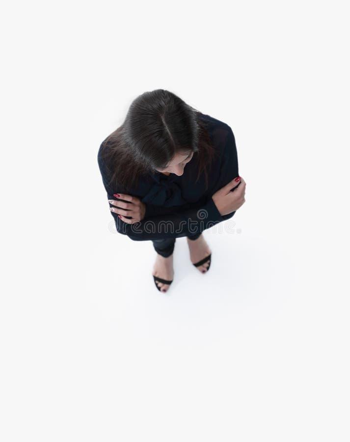 Ansicht von oben moderne junge Geschäftsfrau, die oben schaut stockfotos