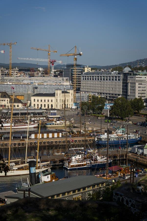 Ansicht von Oslo-Fjord und von Oslo-Hafen, Oslo, Norwegen lizenzfreies stockbild