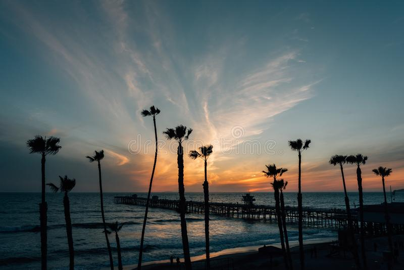 Ansicht von Palmen, von Strand und von Pier bei Sonnenuntergang, in San Clemente, County, Kalifornien lizenzfreies stockfoto