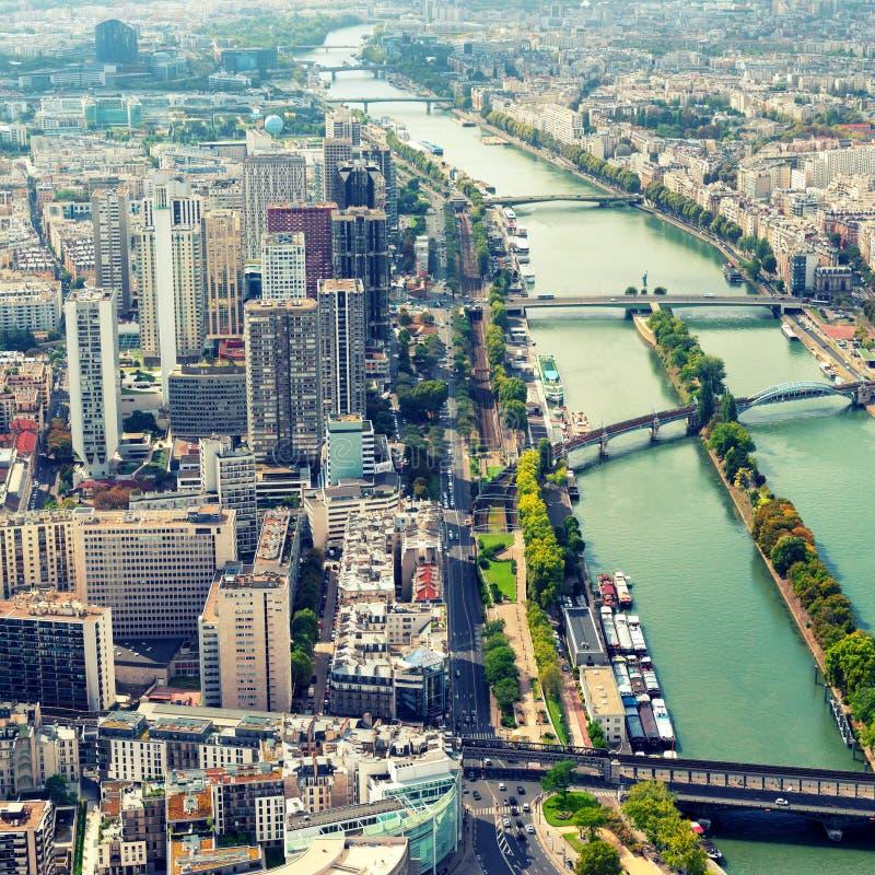 Ansicht von Paris vom Eiffelturm lizenzfreie stockfotos
