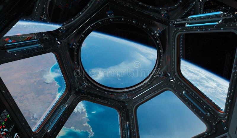 Ansicht von Planet Erde von einem Raumstationsfenster 3D, das EL überträgt stock abbildung